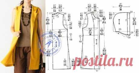 Удлиненный жилет с капюшоном, выкройка на размеры 40/42, 44, 46/48, 50 (рос.). #простыевыкройки #простыевещи #шитье #жилет #выкройка