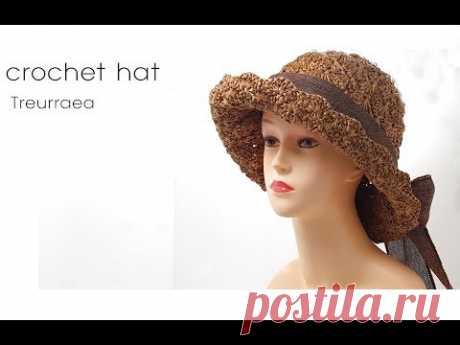 (코바늘 모자뜨기)How to crochet hat/かぎ針帽子/蕾丝帽子/treurraea
