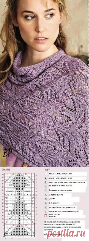Красивый узор с листьями для палантина (Вязание спицами)   Журнал Вдохновение Рукодельницы