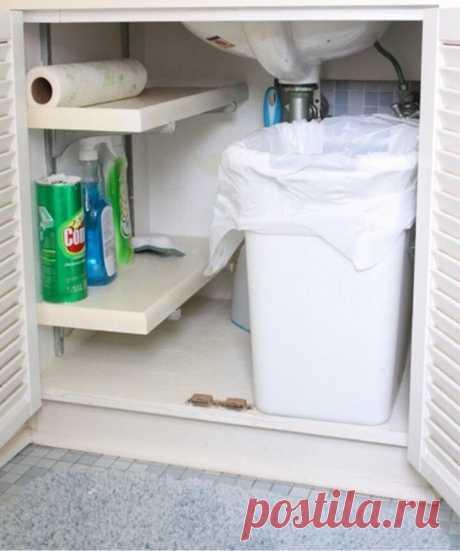 Маленькая кухня: как хранить всё необходимое в тумбе под раковиной | Mebel.ru | Яндекс Дзен