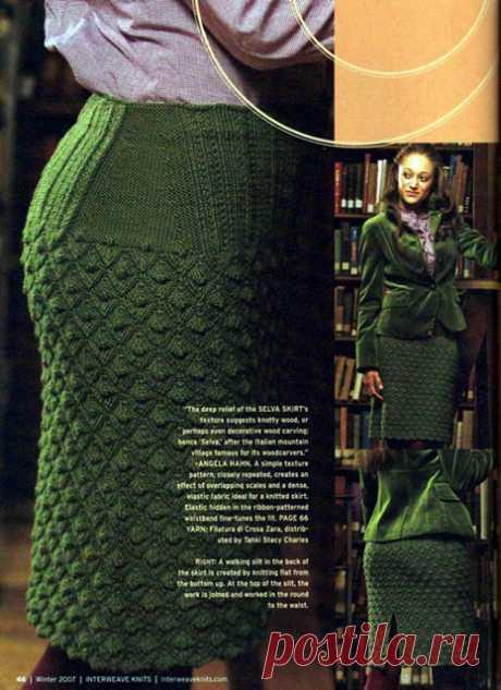 Зеленая юбка узором Сельва спицами – схема вязания с описанием и МК видео
