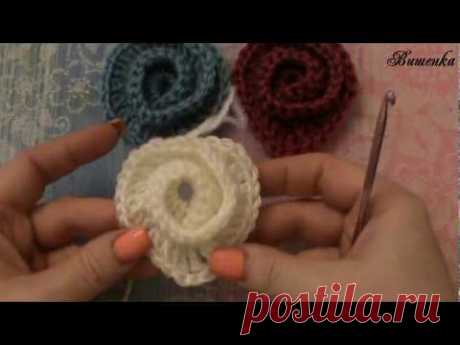 Вязание крючком мотива СЕРДЕЧКО спиралью - YouTube