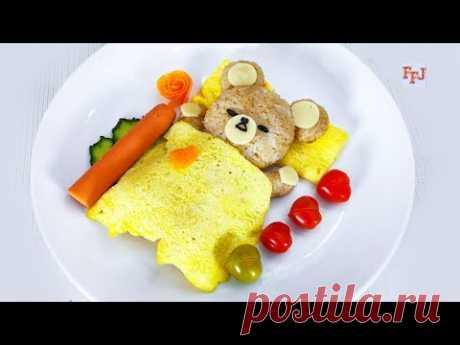DIY Sleeping Rice Teddy Bear with Omelet Blanket for Breakfast Arrangement