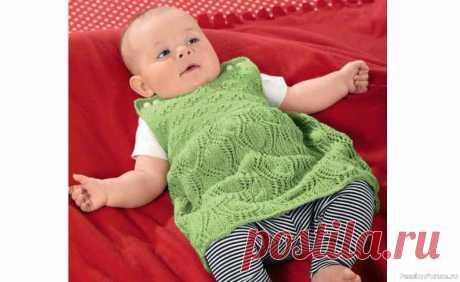 Платье для малышки до 1 года | Вязание спицами для детей Кокетка и нижняя часть платья выполнены различными ажурными узорами. Удобное, красивое платье для малышки связанное спицами, описание и схема вязания.РАЗМЕРЫ: 50/56 (62/68) 74/80 ВАМ ПОТРЕБУЕТСЯ: пряжа (100% овечьей шерсти: 95 м/ 25 г) -125 (150) 175 г цв. киви; спицы и круговые спицы №...