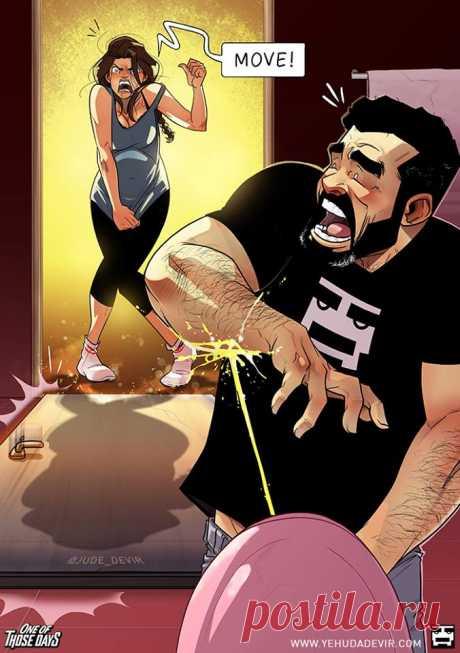 Израильский художник выпустил новую серию комиксов осемейной жизни. Теперь сбеременной женой