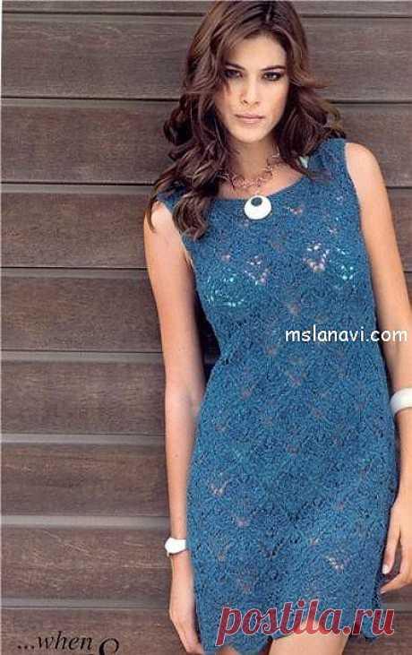 Ажурное синее платье   Вяжем с Ланой