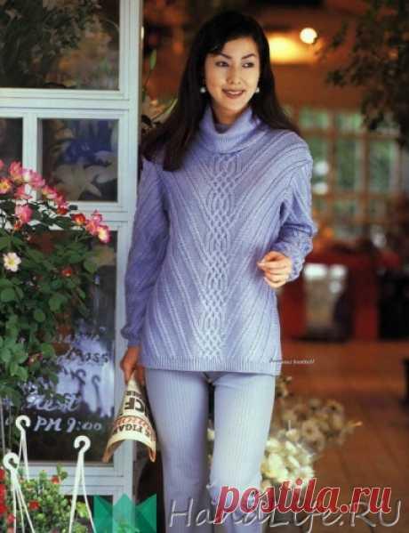 Красивый свитер оригинальным узором. / Вязание