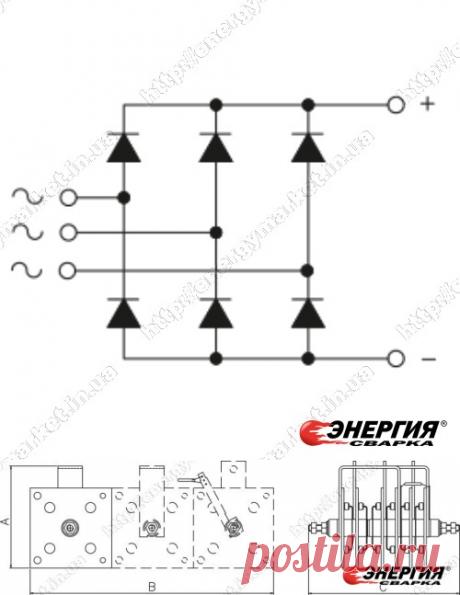PТS - 500 Трехфазный диодный мостовой выпрямитель 500A SCOMES. купить цена Украине