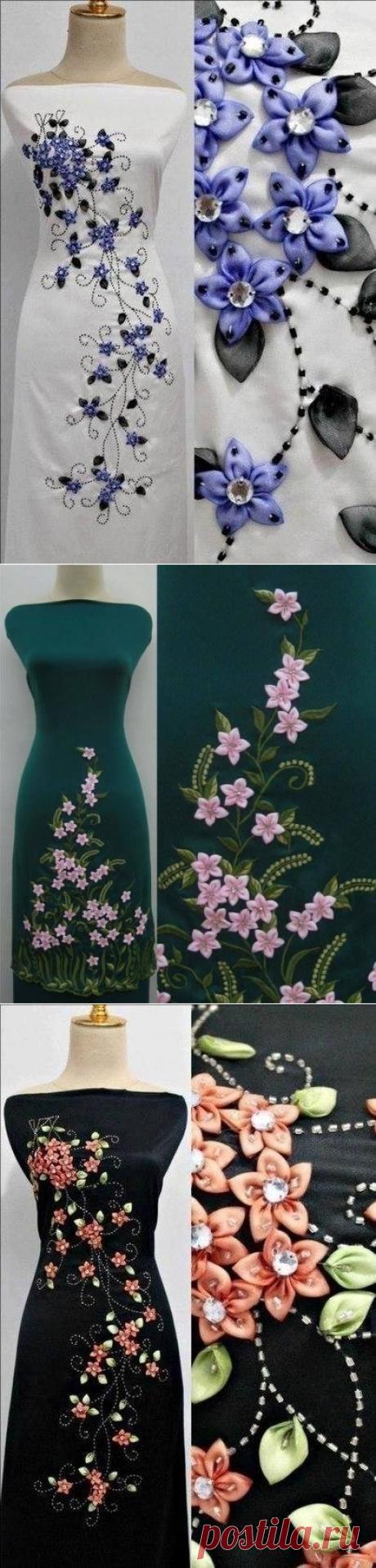 Декорируем платье лентами. Ну как вам?