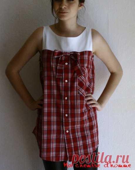 Переделка мужских рубашек в платья (большая подборка  идей)
