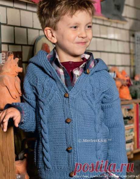Вязание спицами - Жакет с капюшоном на мальчика