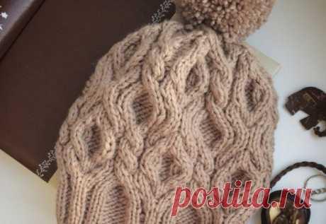 Красивое вязание   Шапка с косами спицами