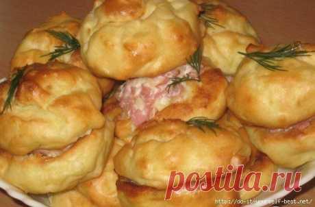 Картофельные профитроли с сырно-ветчинной начинкой » Кулинарные рецепты