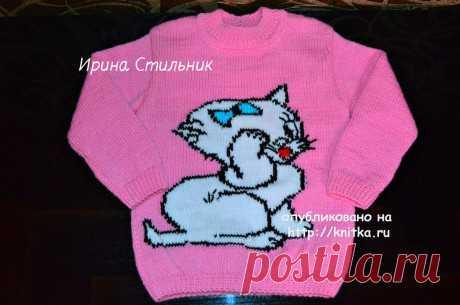 Красивый свитер с кошечкой для девочки. Работа Ирины Стильник, Вязание для детей