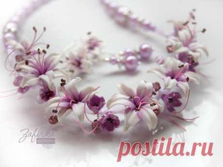 Бижутерия с цветами из полимерной глины: колье и серьги «Лиловые сны» | Zafirka