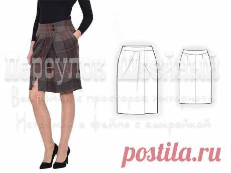 Выкройка юбки с запахом и складками - Переулок швейный