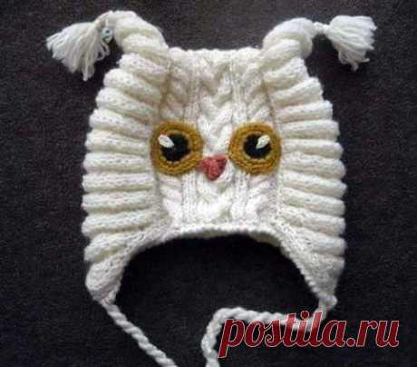 Интересный способ вязания шапки-сова для грудничка Интересный и необычный способ вязания шапки-сова или филин, кому как нравится, для грудничка
