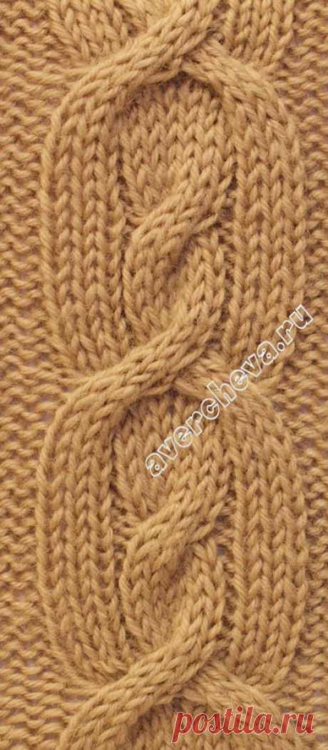 узор 266 коса из 14 петель| каталог вязаных спицами узоров