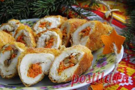 Куриные крученики с морковью и луком ⋆ Blincik.ru