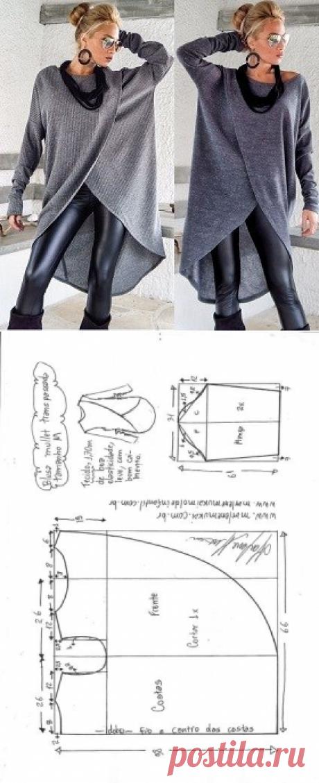 Blusa mullet transpassada para malha | DIY - molde, corte e costura - Marlene Mukai
