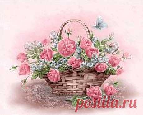 Корзина цветов - Цветы красивые - Анимация картинки - Анимированные картинки открытки - Картинки открытки обои