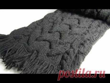 Вязаный шарф спицами⛄ с широкой косой и рельефными жгутами. Вязаные шарфы спицами