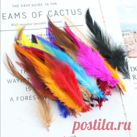 Перья 10-15 см 20/50 шт, 20 цветов + микс