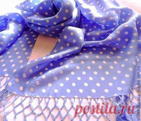 Батистовый шарфик с красивой бахромой