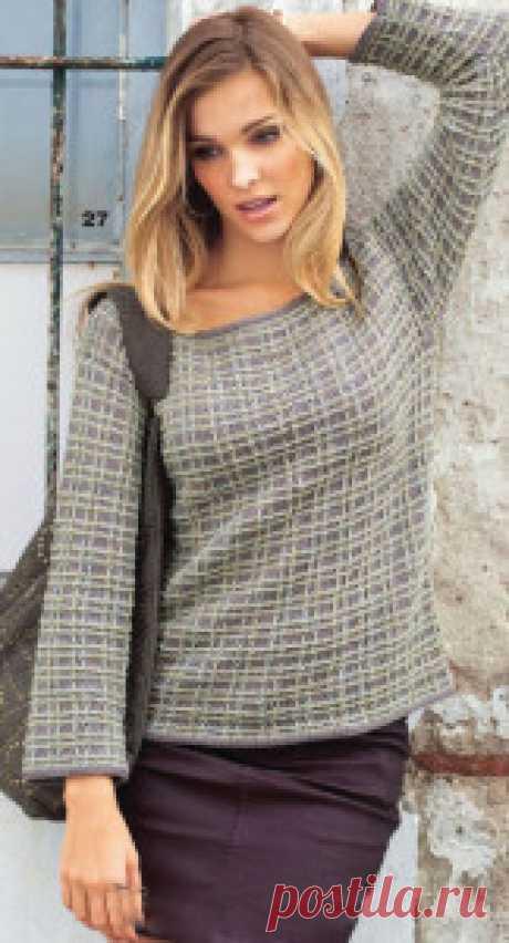 Клетчатый пуловер снятыми петлями - Связано всё....! Просто и красиво: прямой пуловер в клетку связан из смесовой хлопковой пряжи двух цветов узором из снятых петель и изнаночной гладью. Размеры: 38/40 (42) 44/46 Вам потребуется: 350 (400) 400 г серой пряжи \/ю1епа, 300 (350) 350 г бежевой меланжевой \Ziolena Со1оп (50% хлопка, 50% модаля, 100 м/50 г); прямые и круговые спицы № 3,5. Изнаночная гладь: лиц. р. — изн. п., изн. р. — лиц. п. В круговых рядах вязать изн. Узор и...