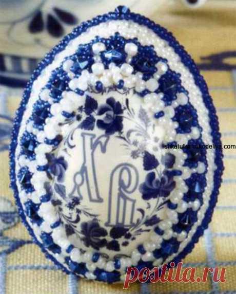 Пасхальные изделия из бисера гжель схемы. Оплетение пасхального яйца в технике ручного ткачества | Шкатулка рукоделия. Сайт для рукодельниц.