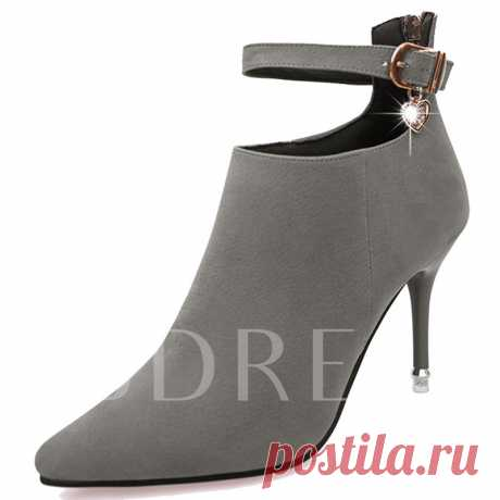 Back Zipper Pointed Toe Ankle Buckle Women's Boots - Tbdress.com