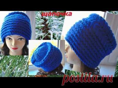 Шапка-Кубанка .Вязання спицями.Beautiful knitting hat.