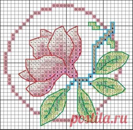 «Схема вышивки магнолии для подставки под чашку» — карточка пользователя галина с. в Яндекс.Коллекциях