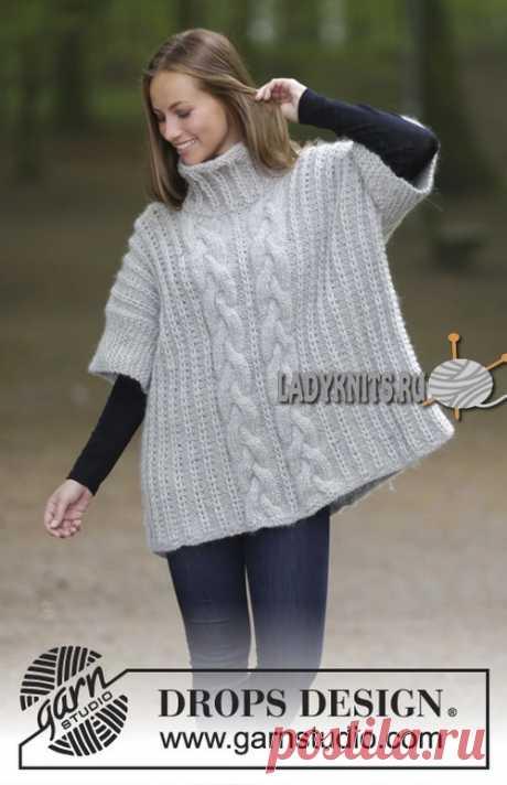 Вязаный спицами теплый свитер безрукавка