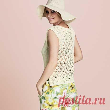 Топ с ажурной спинкой - схема вязания спицами. Вяжем Топы на Verena.ru