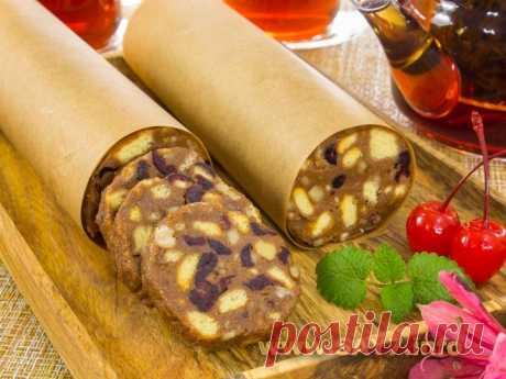 Сладкая колбаска с грецкими орехами и вяленой клюквой