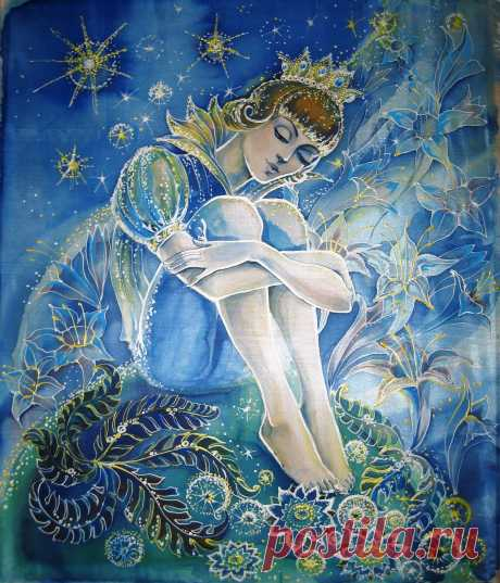Маленький принц. Свободная роспись по шёлку. Авторская работа Радченко Татьяны. 2012 г.