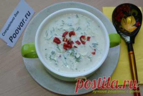 Холодный суп с огурцами на кефире с творогом