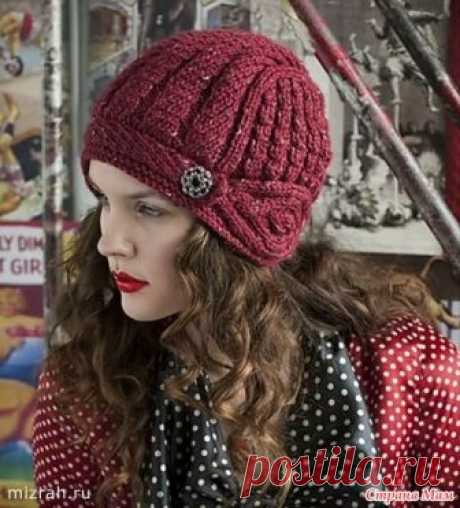 """4 ВИДЕО. Шапочка-шлем из журнала Vogue Knitting. Эта шапочка """"путешествовала """" по многим рукодельным сайтам, и к тому же, взята она из довольно старого журнала. Но я ее очень люблю. Для работы потребуется 2 моточка пряжи, длина нити в 50 гр."""