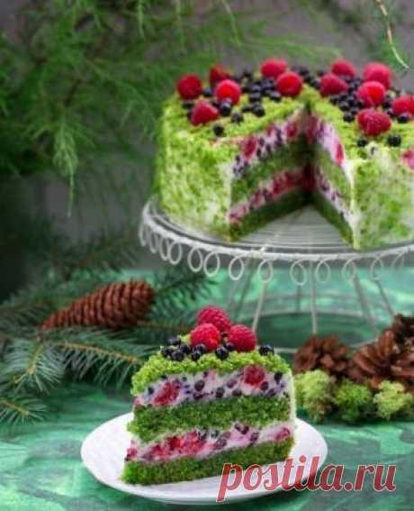 Вкусные рецепты : Торт «Лесной мох» - интересный торт с необычным зеленым бисквитом !!!