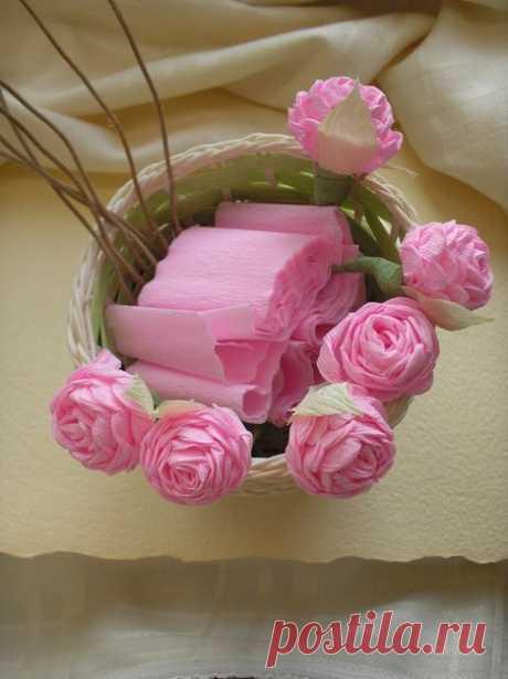 Изумительно красивые розы из гофрированной бумаги — Сделай сам, идеи для творчества - DIY Ideas