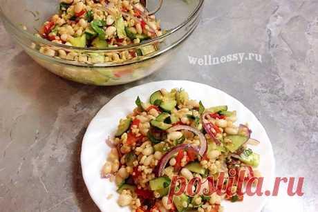 Полезный салат с фасолью — постный рецепт с фото Вариантов салата с фасолью очень много. Один из них — полезный постный рецепт с добавлением болгарского перца, свежего огурца, красного лука и
