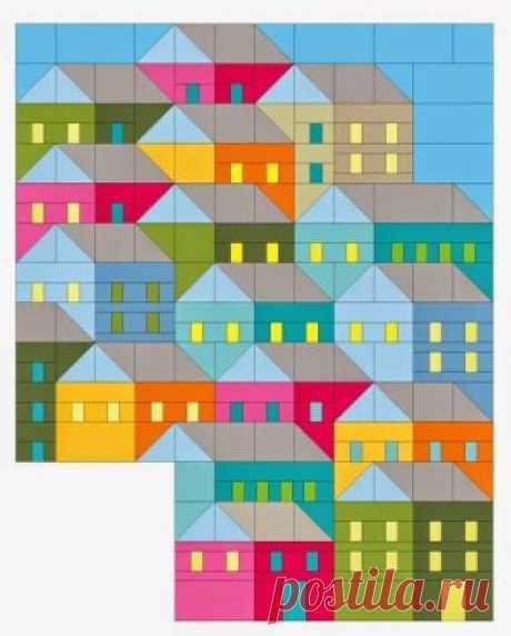 Пэчворк своими руками для опытных. Дома, улицы, города / Пэчворк, лоскутное шитье. Мастер класс для начинающих, схемы / Лунтики. Развиваем детей. Творчество и игрушки