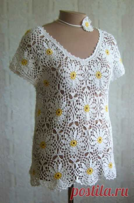 ромашковая блузка из мотивов - Самое интересное в блогах
