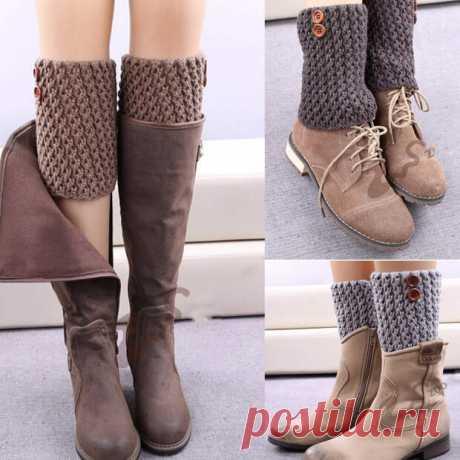 Вязаные украшения для зимней обуви -