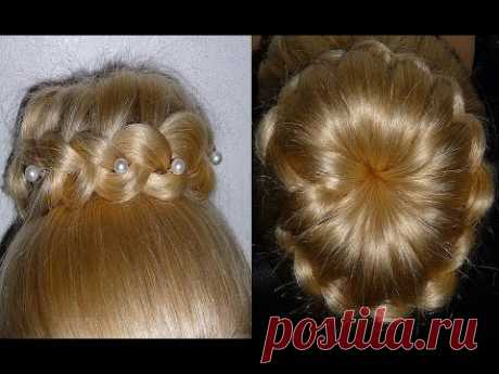 Bunch from hair with weaving. An evening hairdress on a final\/wedding hairdress on average hair