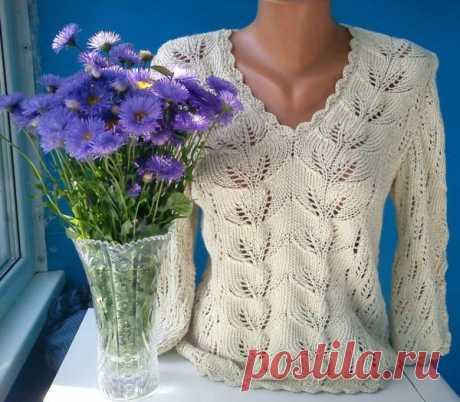 Красивый пуловер узором листья (Вязание спицами)