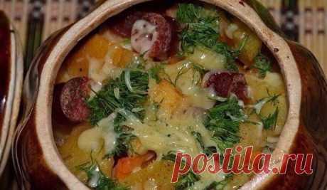 Картошка в горшочках с охотничьими колбасками