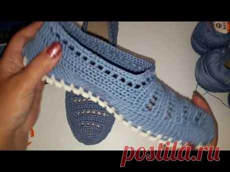 Вязаная обувь крючком. Голубые мокасины