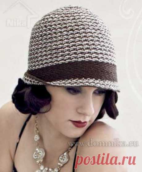 Женская вязаная шляпка спицами описание